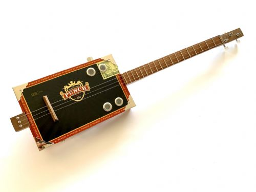Cigar Box Guitar Punch Box 3 String Electro Acoustic Volume and fretboard